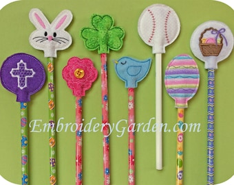 In the Hoop Easter Spring Pencil Toppers Machine Embroidery Design Files Instant Download