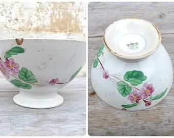 Vintage Antique old French 1900 /1930  Cafe au lait bowl  floral  pattern