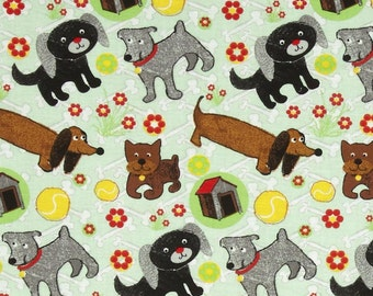 1 YARD - Paws & Play Dogs, Bones and Balls, Green, Red, Cotton Fabric  - CLEARANCE
