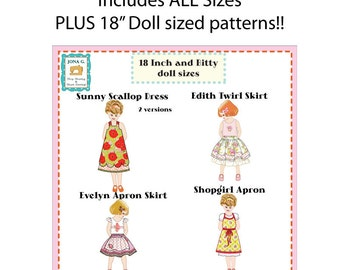 """PDF Bundle - More than 35% off - 5 patterns - Edith Twirl Skirt,Evelyn Apron Skirt,Shopgirl Apron, Sunny Scallop Dress, AND 18"""" doll pattern"""