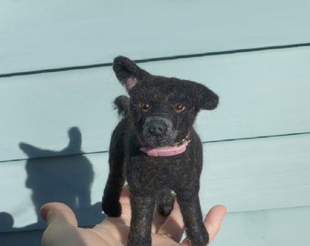 Mans Best Friend / Needle Felted Dog / Custom Pet Portrait  / poseable by Fiber Artist GERRY / example Labrador Retriever Mix