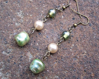 Eco-Friendly Dangle Earrings - Ethereal - Recycled Vintage Glass Beads and Pearls in Ivory and Pale Green