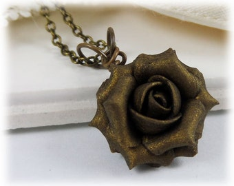 Dainty Bronze Rose Necklace - Bronze Rose Jewelry, Bronze Flower Necklace