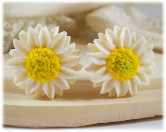 White Sunflower Earrings Stud or Clip On - Sunflower Jewelry