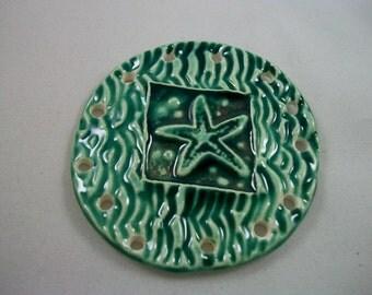 Handmade Ceramic Starfish Pine Needle Basket Base in Sea Green