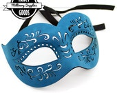 Peacock - Teal - Faux Suede Leather - Masquerade Mask - Prom Mask - Ball Mask -  Venetian Mask - Laser Cut