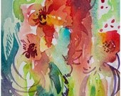 Carnivale, original vibrant red watercolor 5x7 by Angela Fehr