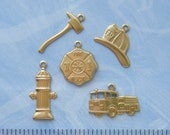 BRASS (20 Pieces) Firefighter Fire Theme Brass Charms - Brass Stampings - Jewelry Findings (G) #