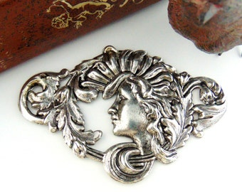 SILVER Large Art Nouveau Goddess Alphonse Mucha Woman Stamping - Jewelry Antique Silver Findings (FC-14) #