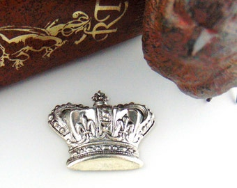 Closeout * ANTIQUE SILVER (2 Pieces) Royal CROWN Stamping ~ Jewelry Findings (C-1101)