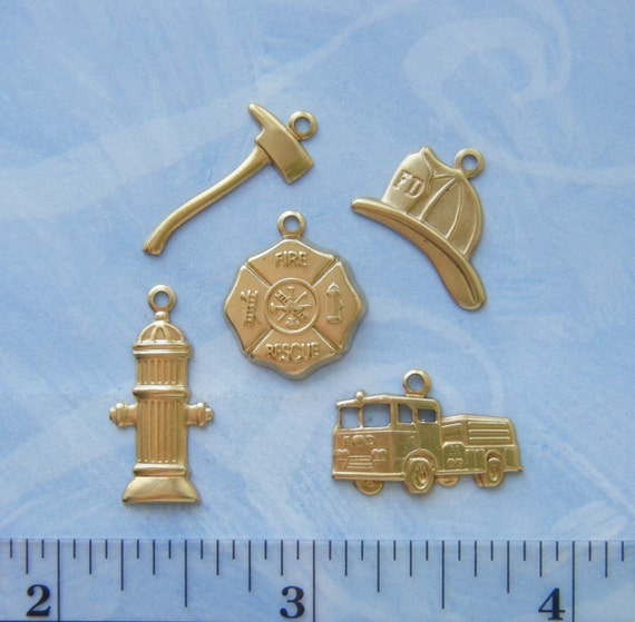 BRASS 15 Pc Firefighter Fire Theme Brass Charms - Brass Stampings - Jewelry Findings (G) #