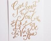 """La Vie En Rose 8x10"""" Print Gold Foil"""