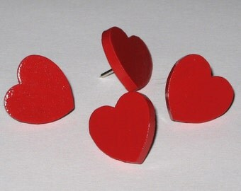 Heart Push Pins in Valentine Red for your Cork Board