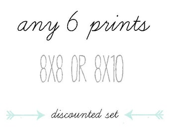 DISCOUNTED SET, You Choose Any Six Photographs, 8x8 or 8x10, Gift Set, Home Decor, Photo Collection, 6 Prints