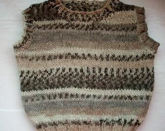 Baby vest, toddler soft knit tank top, slipover, Fair Isle effect, cotton, wool by SpinningStreak