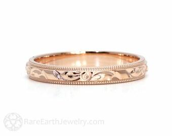 Engraved Wedding Band Vintage Wedding Ring 3mm Floral Flower Design in 14K 18K White Yellow or Rose Gold Platinum