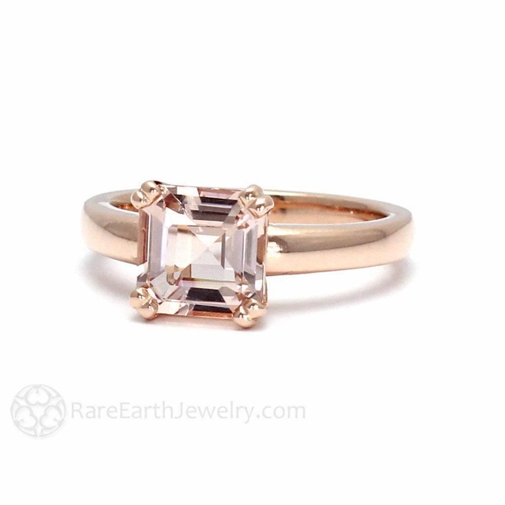 Asscher Morganite Engagement Ring Morganite Ring Asher