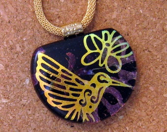 Dichroic Humming  Bird Pendant - Dichroic Jewelry - Dichroic Butterfly - Fused Glass Pendant