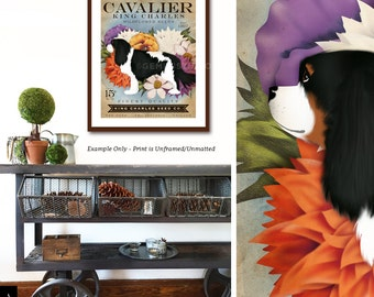 Cavalier King Charles tri color dog Seed Company Wildflowers vintage style seed packet artwork by Stephen Fowler Giclee Signed Print