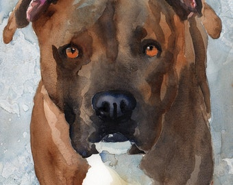 Pitbull Art Print of Original Watercolor Painting - 8x10 Pit Bull Art