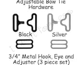 """10 Sets Adjustable Bow Tie Hardware Clips - Rounded Edge Slide Adjuster*, Hook and Eye - 3/4"""" Black or Silver Metal - SEE COUPON"""