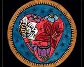 Flora Heart - Original Scratchboard - Ranlett