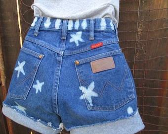 Stars and Stripes shorts Bleached Denim Cut off Shorts High Waist cutoff Flag summer festival ooak handmade XS S