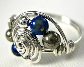 Lapis Lazuli and Pyrite Ring Wire Wrapped Sterling Silver Deluxe Gravitation -- Any Size