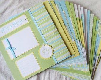 Scrapbook Album for BABY BOY -- 20 Premade Scrapbook Pages for 12x12 FiRsT YeAr ALbUm - layout collection - playful and precious