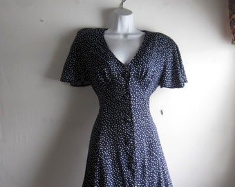 Navy Blue and White Polka Dot Dress - Hunter Run - Modest Dress size 4