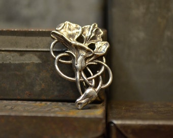 Art Nouveau Secessionist Style Sterling Silver Poppy Flower Pin Antique