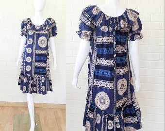 70s Vintage Blue HAWAII Abstract Ethnic Artsy Dress S to M