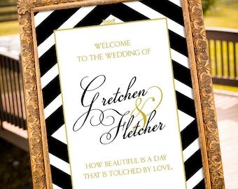 Chevron Wedding Decorations, Black & Gold Party Decor, Custom Wedding Sign Printable, Social Media Sign, Art Deco Wedding, Welcome Sign
