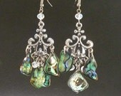 PAUA New Zealand Shells & Crystals Chandelier style Earrings Lotus Flower of Life Erg1339