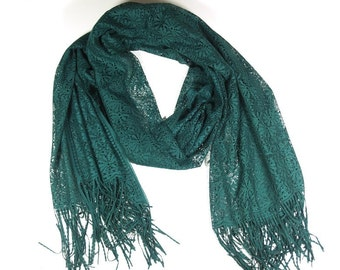 Emerald Green  Tulle Shawl, wrap, scarf, Christmas Gift