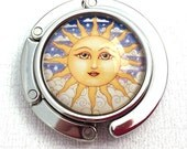 Purse Hook - Sun Face Photo Glass Cabochon - Purse Hanger with Blue Velour Pouch