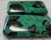 Large Ceramic Rectangle Teal Butterfly Beads