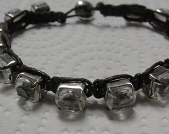 Rhinestone Brown Cord Bracelet