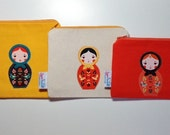 MATRYOSHKA Babushka Doll Applique Canvas Zipper Pouch Coin Bag