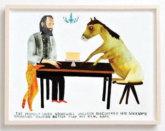 Art, Humor, Horse, Vintage, Poster, Animals, Stonewall Jackson, History, American Civil War, Cat, Quirky, Stonewall Jackson- Fine Art Print