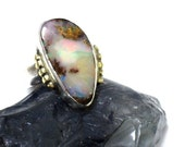 Silver Gold Ring, Australian Boulder Opal Ring, Opal Jewelry, Blue Opal Ring, Sterling Gold Stone Ring, October Birthstone Ring