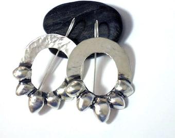 Silver Flower earrings, Nature Inspired Earrings, Large Silver Earrings, Hammered Dangle Earrings, Floral Earrings Silver, Petal Earrings