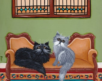 CAT Art The Persian Cats Room Original Cat Folk Art Painting
