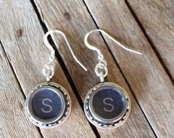 Typewriter Key Earrings - Letters of your Choice - Recycled & Retro - Vintage