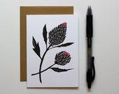 Blank Letterpress Notecard, Thistle, Wild Flower, Small Card, Blank Card, Letterpress Gift Card, Greeting Card, Gift for Her, Mother's Day