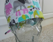 Tie Back Surgical Scrub Hat with Pastel Elephants