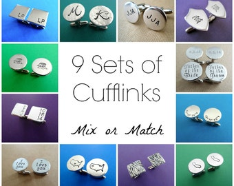 9 Sets of Personalized Cufflinks - Mix or Match Any Style - Aluminum Cuff links