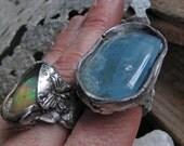 Rainbow love very rare rainbow veiled blue Colorado aquamarine in recycled fine silver big ring size 7