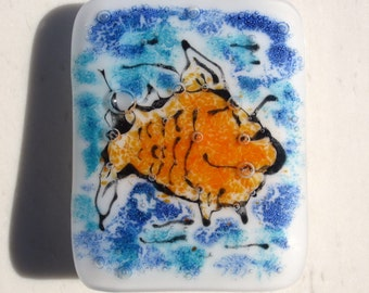 Fused Glass Night Light Swimming Orange Fish in Blue Water