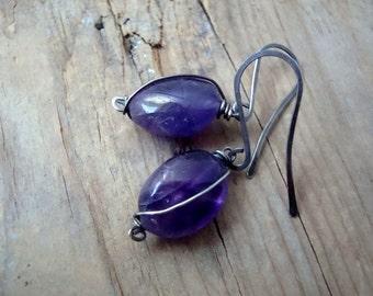 Large Amethyst Earrings - - Grape Fantasy. Wire Wrapped Jewelry Oxidized Sterling Silver February Birthstone Purple Earrings Gemstone